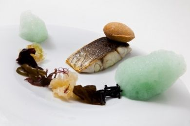 Corvina a las algas, miniairbag de nori relleno de escabeche  y burbujas de espirulina …y pan de cerveza, alga Nori y pimentón