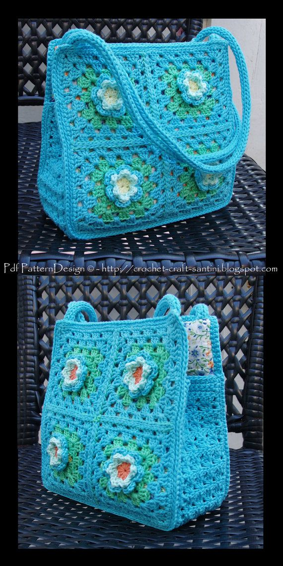 Bolsa de cuadros de crochet de original color.