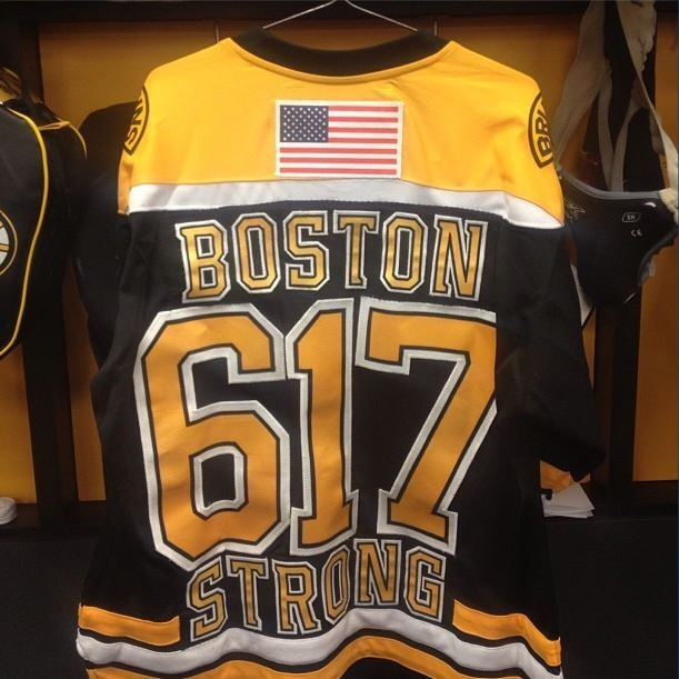Bruins Hang 'Boston Strong' No. 617 Jersey With American Flag in Locker Room Before Wednesday's Game