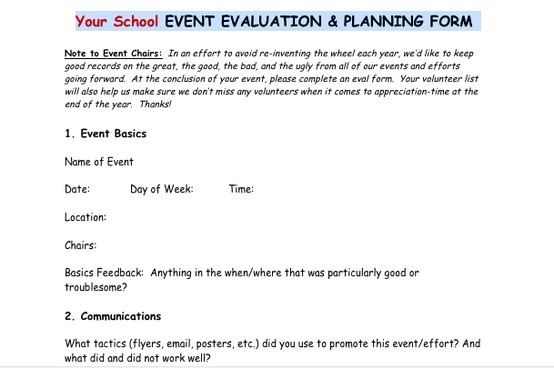 Post-event evaluation form from the PTO Today File Exchange Good - student feedback form
