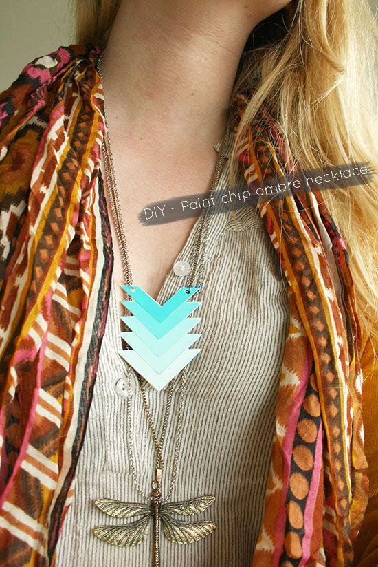 DIY Jewelry Ombre Paint Chip Chevron Necklace
