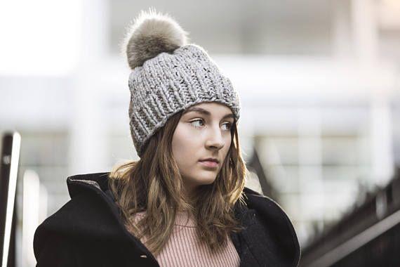 Light Grey Hand Knit Hat with Faux Fur Pom Pom