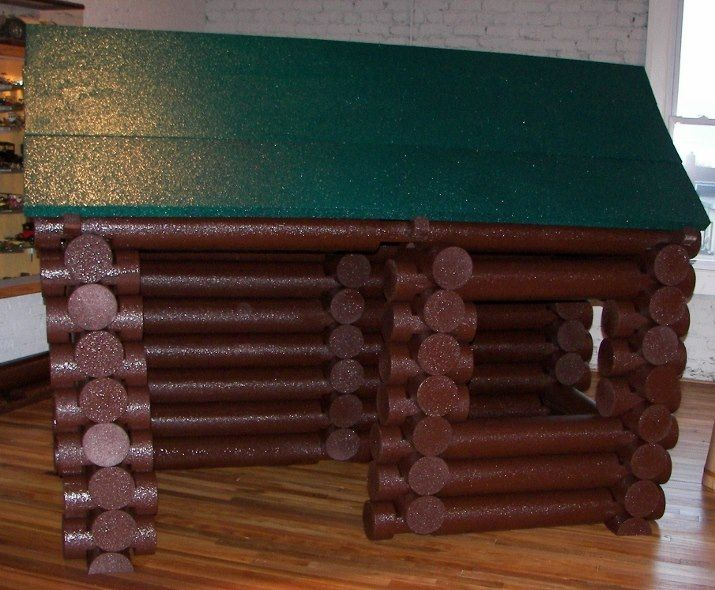 Lincoln log house made out of pool noodles