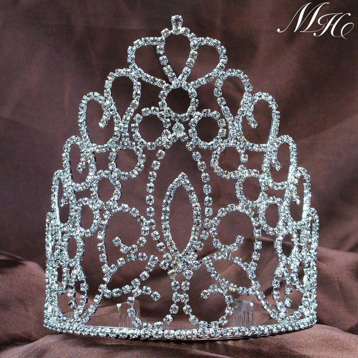 "Royal Brides 5.5"" Tiara Bridal Wedding Crowns w/ Hair Combs Clear Rhinestone Crystal Silver Headband Beauty Pageant Prom"