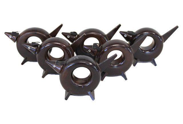 Midcentury Wooden Dog Napkin Rings, S/6