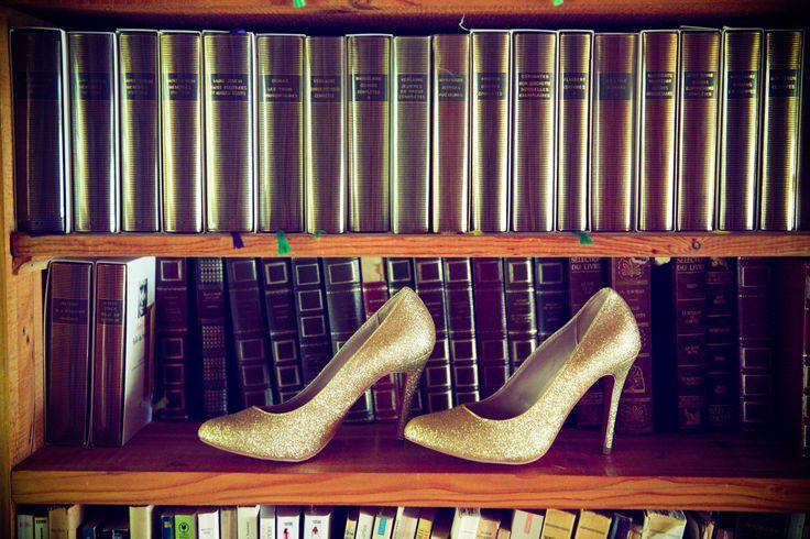 wedding shoes, gold, christian louboutin
