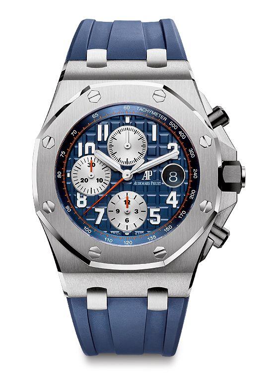 Ref. 26470ST.00.A027CA.01, with a stainless steel case, royal blue dial and matching rubber strap, silver-toned counters, white numerals, white-gold hands and a blue inner bezel ($25,600)