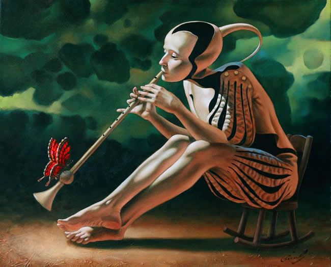 Metamorphosis by Michael Cheval, Original Oil on Canvas 24x20 for availability contact gallery at info@huckleberryfineart.com