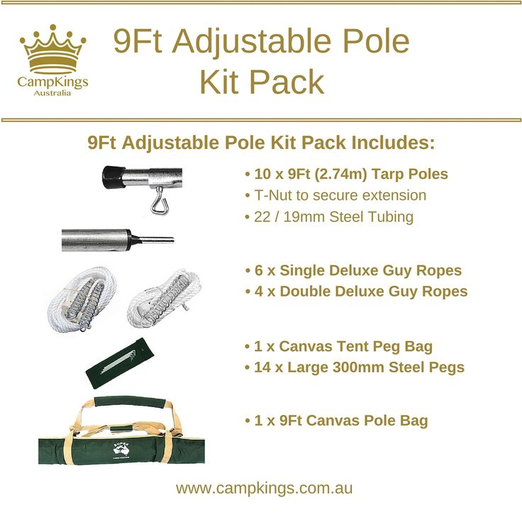 CampKings Australia - 9Ft Steel Pole Camping Kit, $239.00 (http://campkings.com.au/shop-campkings/campkits/9ft-steel-pole-camping-kit/)