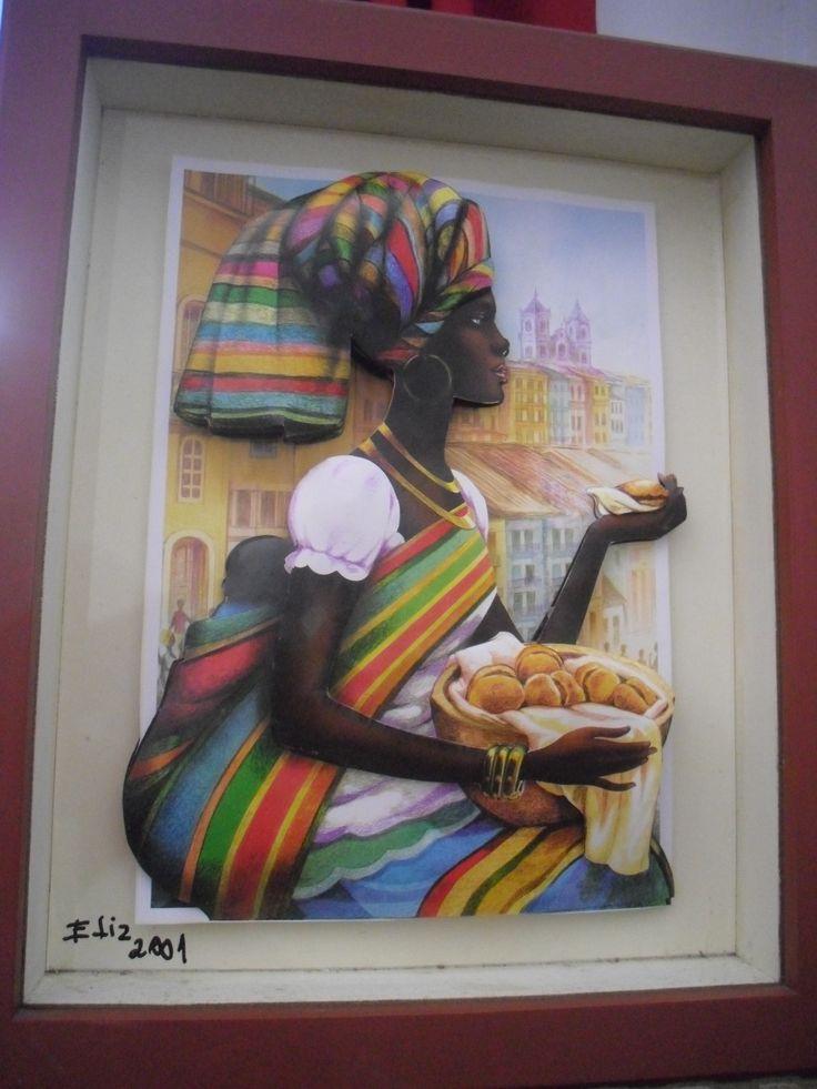Arte francesa com imagem de uma africana.