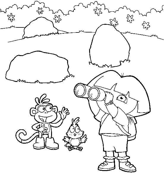 Use Binoculars To See Dora Coloring Pages