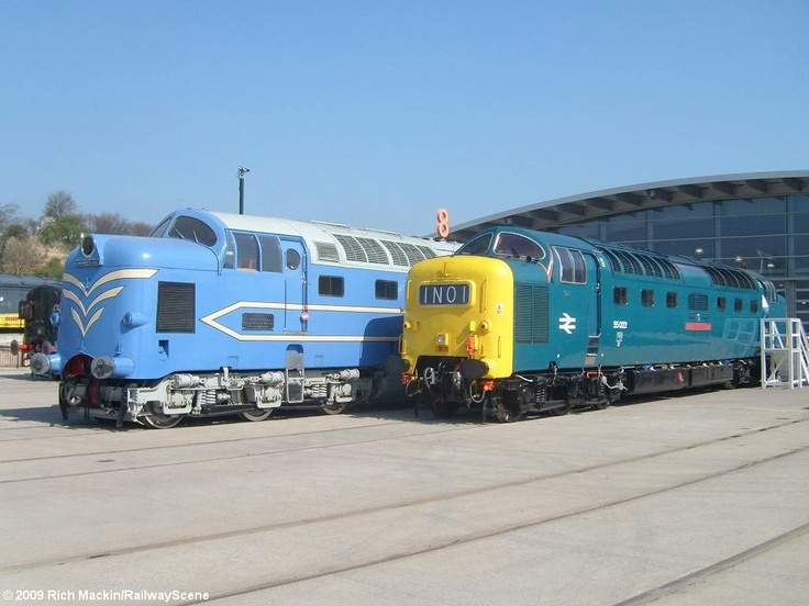 Side-by-side comparison of the prototype 'Deltic' and a production  Class 55