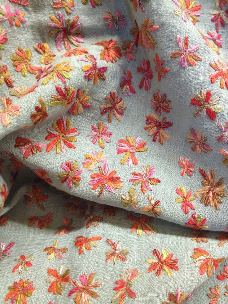 Linen scarf with embroidery by Sophie Digard