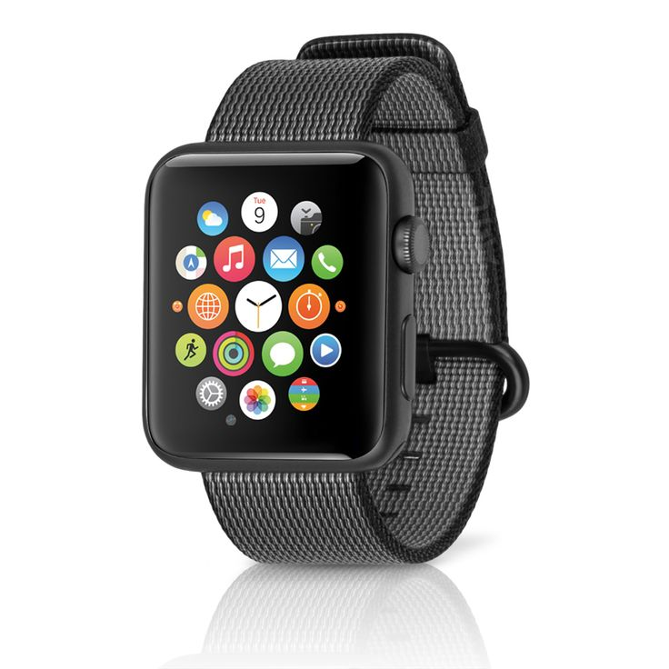 Apple Watch Sport 42mm Space Gray Aluminum Case w/ Woven Nylon Band Black  (Refurbished