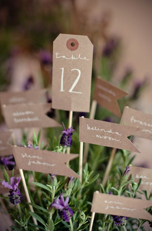 fresh lavender table centerpiece w/ numbers & seating!