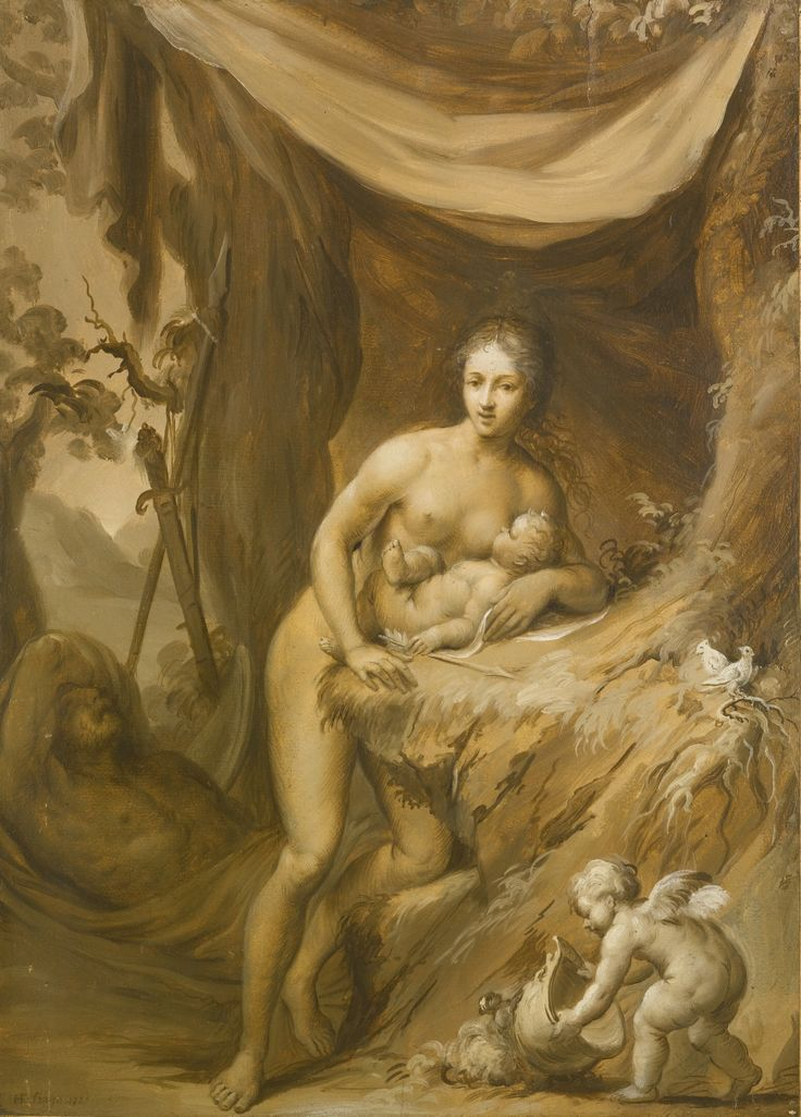 French school, 18th century MARS AND VENUS signed and dated lower left: HF Fiago 1789 oil on paper, laid on to panel, unframed 45.5 by 32 cm.; 17 7/8  by 12 1/2  in.: