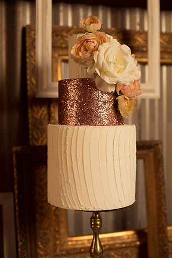 Rose gold glitter rustic glam wedding cake at Whispering Oaks.  Full gallery: https://www.friartux.com/blog/12095#.VfmuVxFVhBc