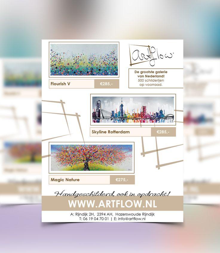 Grafisch ontwerp en drukwerk van flyers voor www.artflow.nl de grootse Galerie van Nederland! #logo #huisstijl #follow #print #graphicdesign #kunst #schilderen #amsterdam #drukwerk #schilderij #branding #designer #designing #creative #love #logos #art #designer #marketing #photooftheday #painting #picoftheday #loveit #zzp #company #onderneming #holland #spareribs #luxury #paint