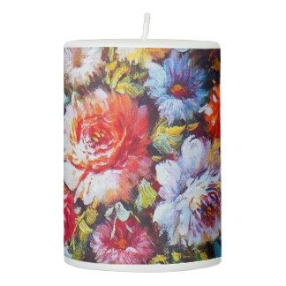 Vintage Floral Bright Country Flowers Painting Pillar Candle
