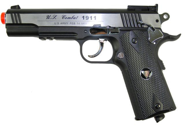 TSD CO2 Blowback M1911 Airsoft Pistol - TSD CO2 Blowback M1911 Airsoft Pistol, 2-Tone Metal Slide, Black Nylon Frame, & Black Grips. Adjustable Hop Up, 475+ FPS with .20g BBs, Packaged in Pistol Case. Legal Disclaimer Restrictions: You must be 18 or older to order this product. In some areas, state and local laws further restrict or prohibit the sale and possession of this product. In ordering this product, you certify that you are at least 18 years old and satisfy your jurisdiction's legal…