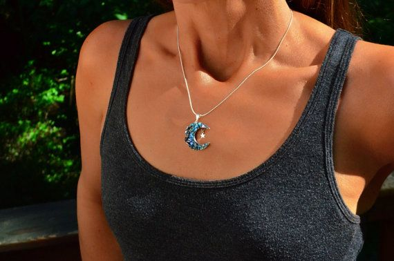 Blue Moon, Silver Star, Custom Order, Iridescent Bismuth Metal Crystal and Sterling Silver Pendant  with Necklace