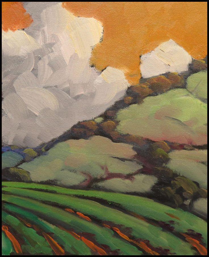 W HAWKINS California Vineyard Sunset Clouds Impressionist Art Gift  Oil Painting #Impressionism