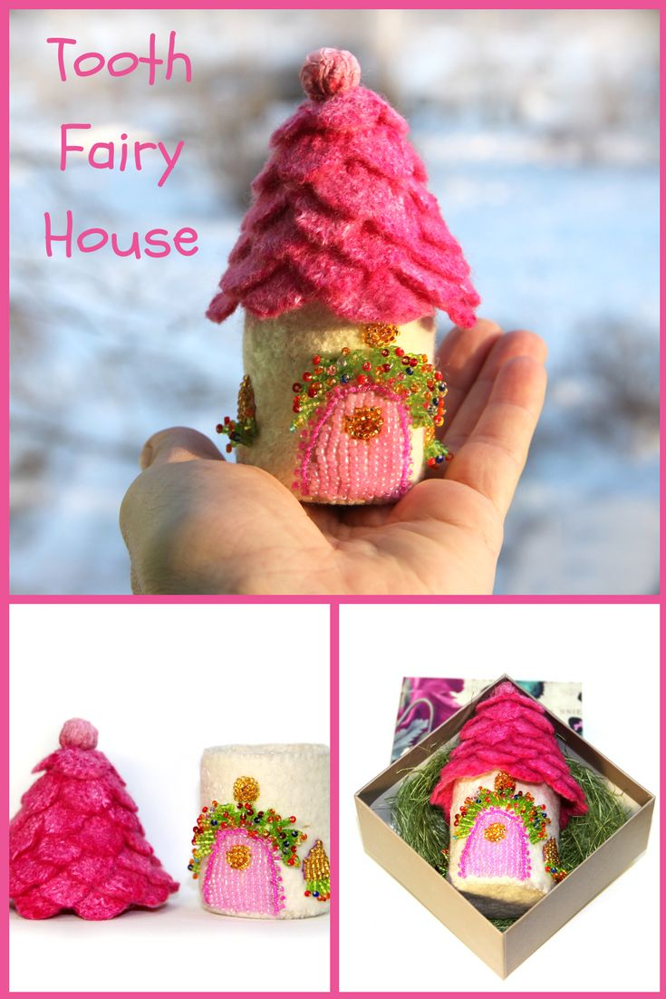 In this little fairy house lives the Tooth Fairy. Let your child put his tooth into this house and at night the Tooth Fairy will bring him money or a small gift for the tooth. Depending, of course, on the agreement that parents will make with the Tooth Fairy!  The height of the fairy house is 5 inches (13 sm). #fairytail #fairy #toothfairy
