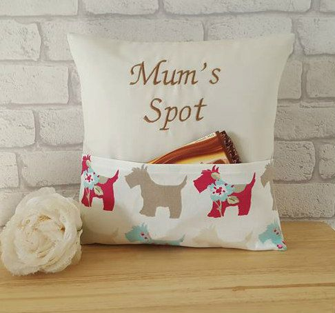 Mum's Spot Cushion~Scottie Dog Pocket Cushion~Personalized Pillow~Home…