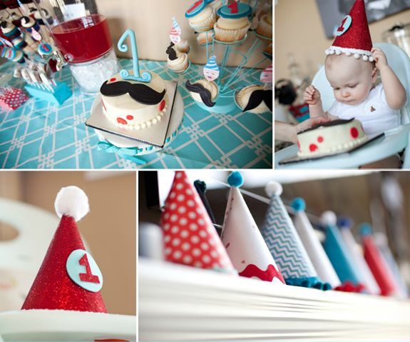 Great 1st Birthday Party Ideas For Boys. A cozy affair to celebrate your baby's first year of life. Love the party theme & the fabulous cake with faux mustache.
