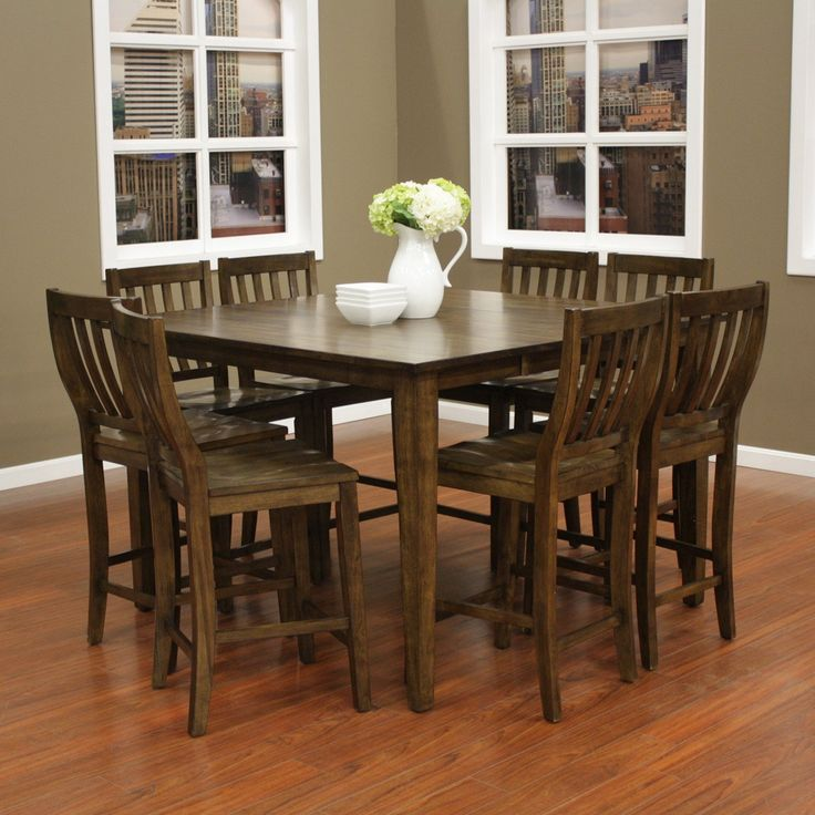 American Heritage Este 9 Piece Butterfly Counter Height Dining Table Set  With Hyden Chairs