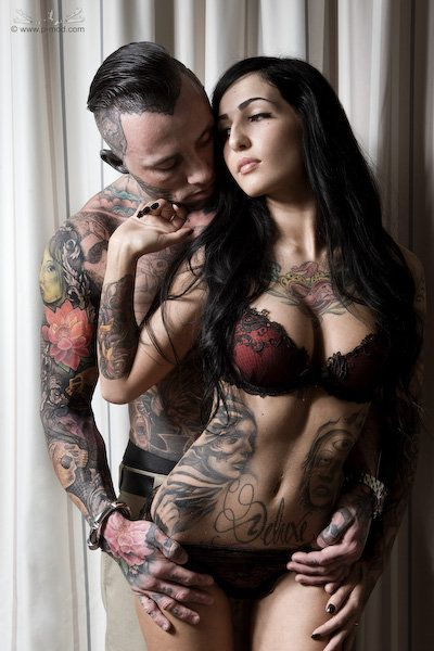 Fiona Bergson (French Doll) and Jay Read #tattoo: Tattoo Couple, Sexy Tattoo, Awesome Tattoo, Sexy Couple, Ink Couple, Tattooed Couples, Body Art, Hot, Beautiful Tattoo