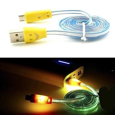 Extension Phone Cable Colorful Cable Led Light Visible Micro Usb Cable Charging Connector Cables Smile Face Flat Noodle Sync Data For S5 S6 Note4 Android Phones Adsl Phone Cable From Easycome, $275.09