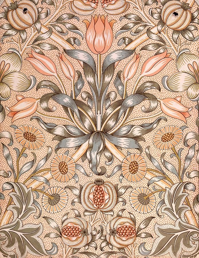 Lily And Pomegranate Wallpaper Design Tapestry - Textile