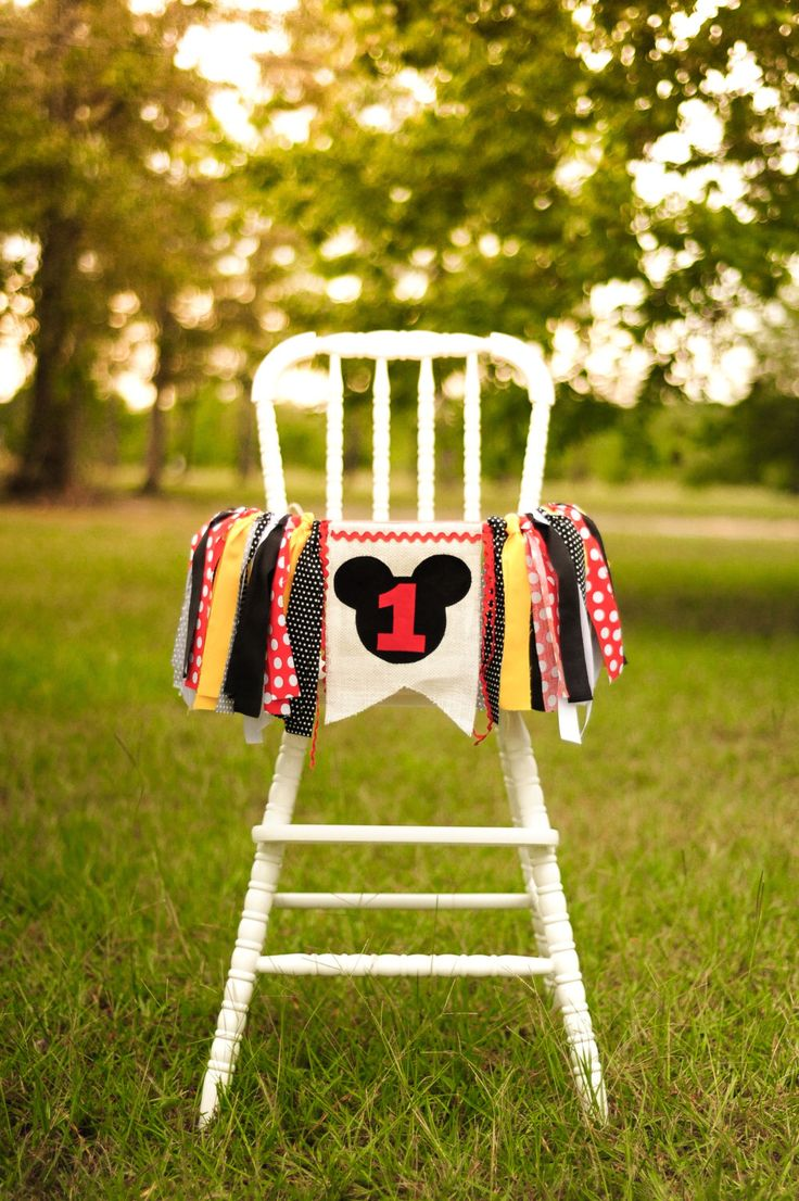Mickey Mouse inspired birthday high chair banner, garland, smash cake decoration, or photo prop by JordynnAndGraceCo on Etsy https://www.etsy.com/listing/460813914/mickey-mouse-inspired-birthday-high