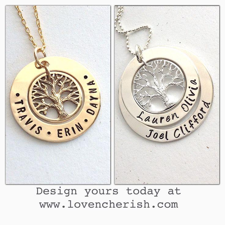 Family Tree pendants. Design yours now at www.lovencherish.com