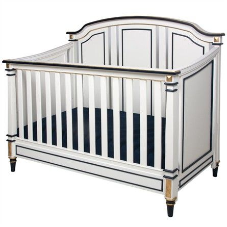 Sailor Crib in Antico White and Navy with Gold Gilding #rosenberryrooms