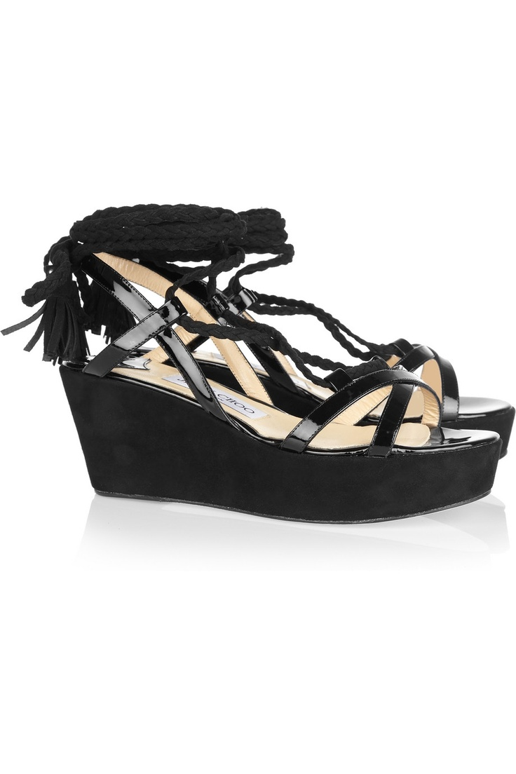 Jimmy Choo Poppy suede and patent-leather wedge sandals - 45% Off Now at THE OUTNET