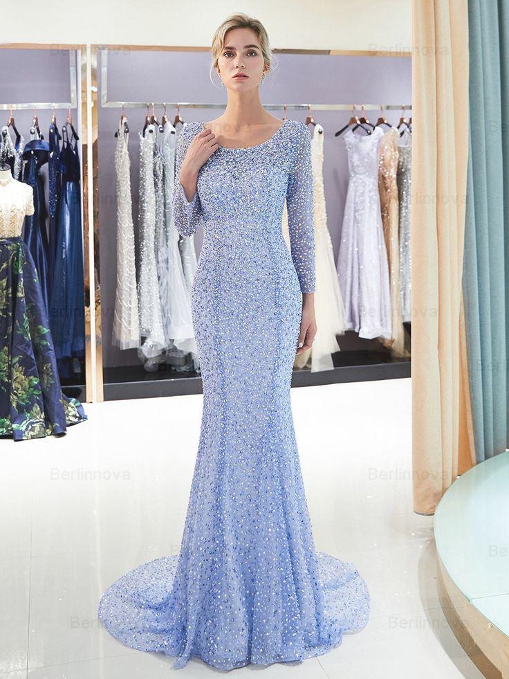 Lang Mermaid Beateu Blau Strasssteinen Abendkleid