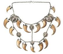 antique large lion claw silver necklace