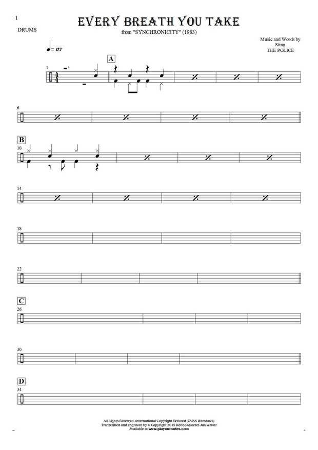 Every Breath You Take sheet music by The Police. From album Synchronicity (1983). Part: Notes for drum kit.
