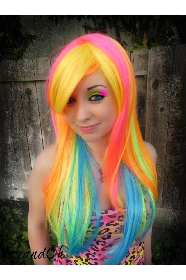 Neon hair neon hair long rainbow bright hair for Bright pretty colors