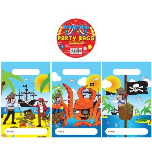 12 Pirate Design Childrens Party Bags / Kids Fillers Gifts Favours Toys Sweets - FILL UP THESE FANTASTIC PARTY BAGS WITH TOYS, GAMES AND SWEETS FOR YOUR KIDS BIRTHDAY PARTY!  IDEAL FOR ANY CHILDRENS BIRTHDAY PARTY, KIDS WILL LOVE THEM!   NEED TO FILL YOUR PARTY BAGS?  VISIT OUR SHOP FOR HUNDREDS OF FANTASTIC PARTY BAG FILLERS   FROM POP-UP ALIENS & TOY CARS TO GLITTER KEY RINGS & DINOSAUR STICKERS! 10 party bags Ideal for filling with party bag fillers & toys 15 x 22 (cm) [am