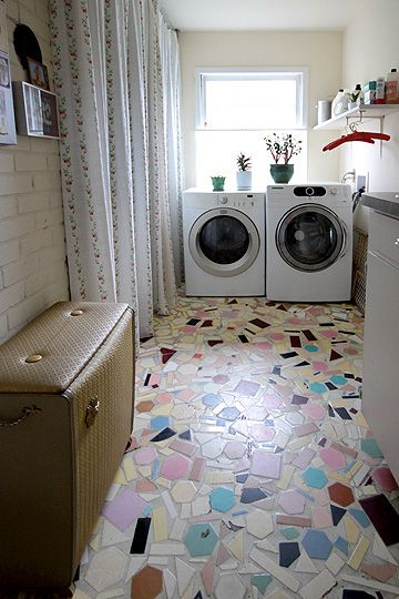 What a fun floor! By a creative couple in Portland, Oregon. via Apartment Therapy