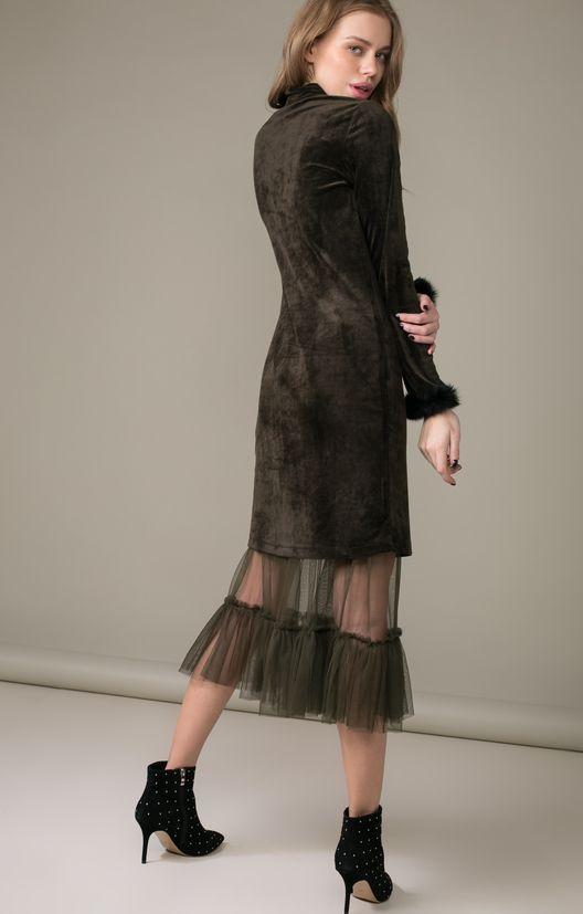 Платье из бархата со съемной фатиновой юбкой Name / 2000000250159-5
