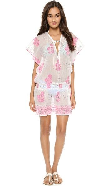 Juliet Dunn Neon Flower Print Dress