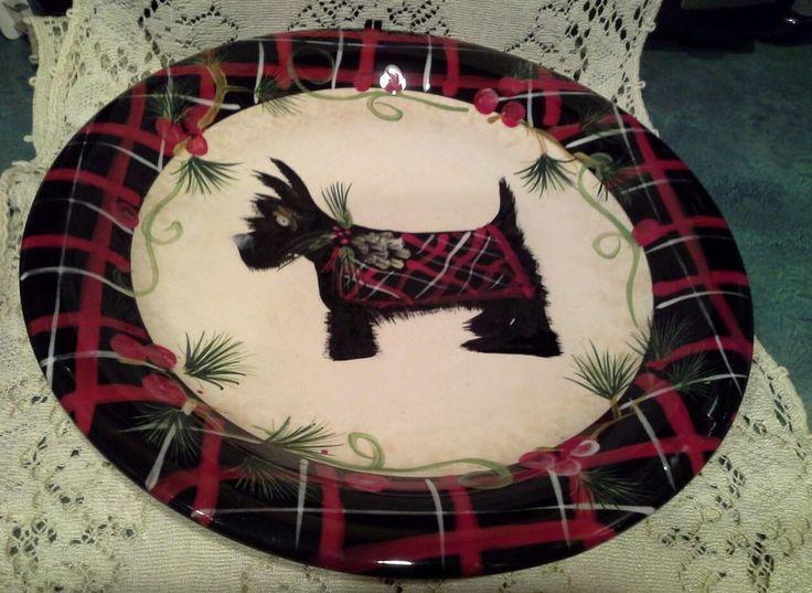 Patricia Brubaker Plaid Scott Terrier Dinner Plate  #PatriciaBrubaker