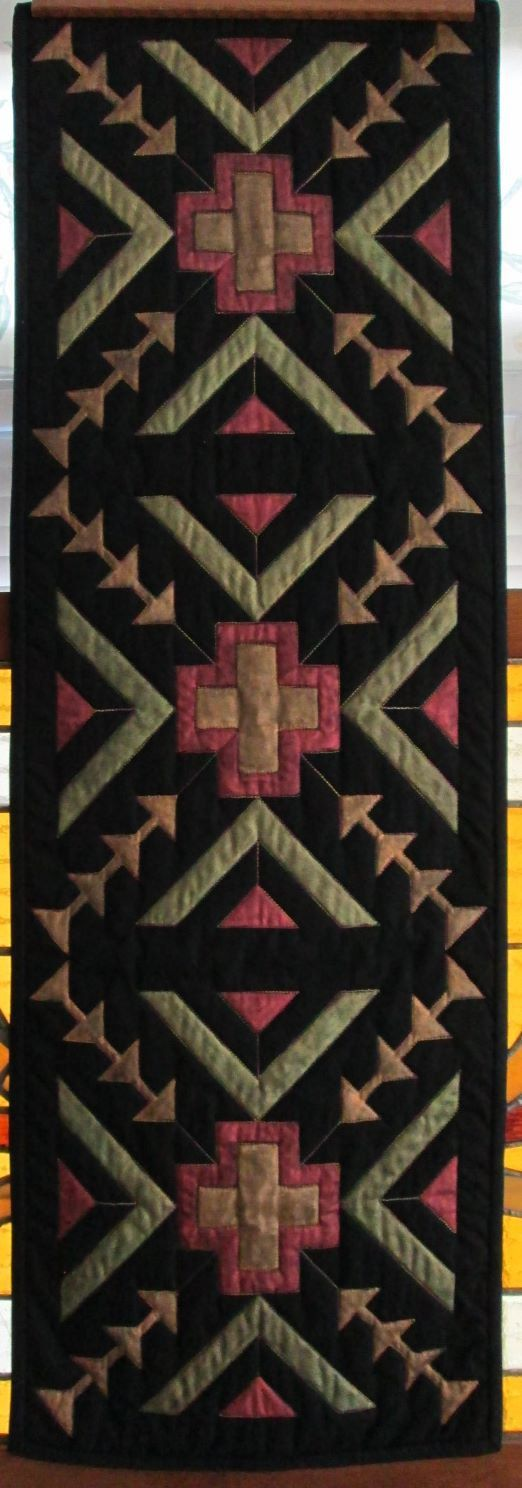Southwestern Table Runner Wall Hanging Hand Painted By Kwiltykats