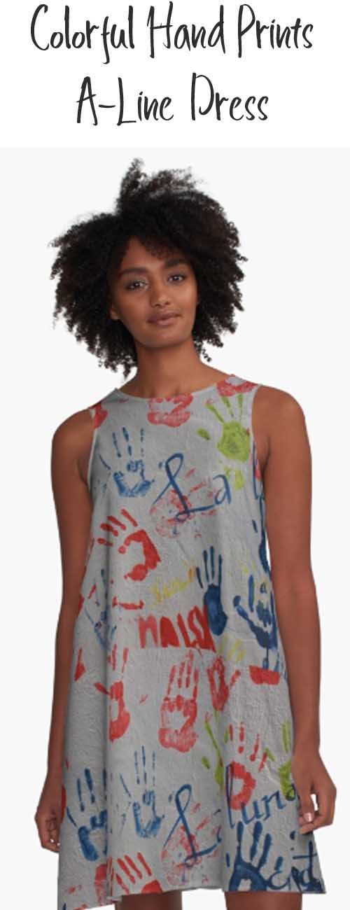 A A-line Dress with colorful handprints. Buy it here: https://www.redbubble.com/people/rhamm/works/22188163-abstract-hand-prints?asc=u&p=a-line-dress&rel=carousel