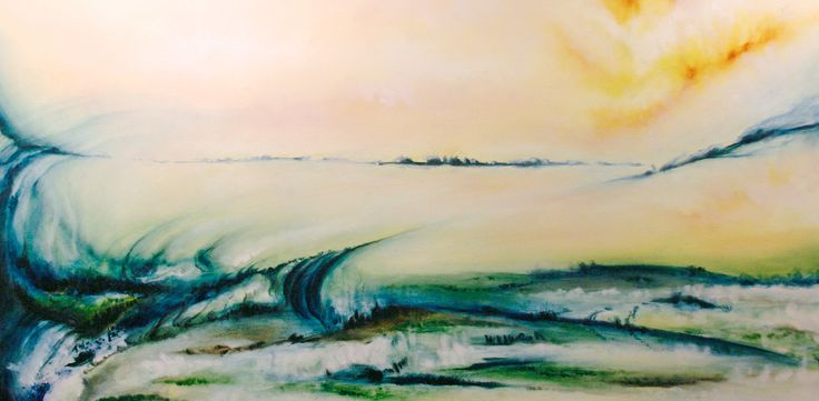 """""""Opalescent Entheogen"""" by Daniel Rigos. Abstract Surreal Landscape Oil Painting for Sale on Bluethumb - Online Art Gallery, Australia. 92cm (W) x 46cm (H) - $800 AUD"""
