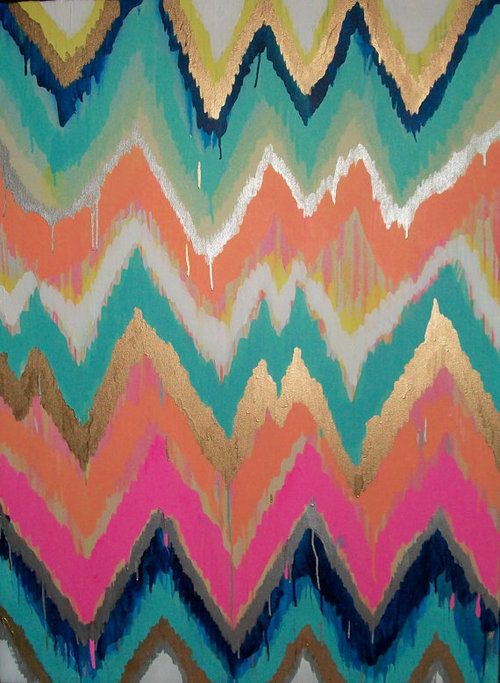 How pretty would this be as the pattern on a dress? Like a drippy, handmade Missoni print.  (via Custom ikat chevron by JenniferMoreman)